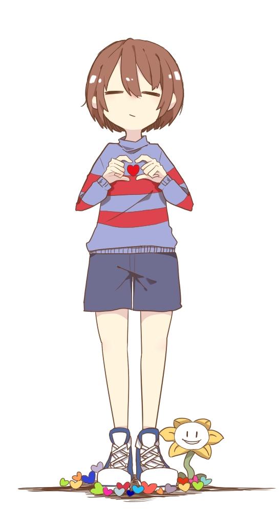 Tags: Anime, Pixiv Id 11746259, Undertale, Flowey, Frisk, Mobile Wallpaper