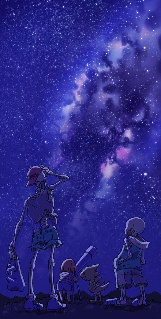 Tags: Anime, Pixiv Id 20747286, Undertale, Papyrus, Sans, Monster Kid, Frisk, Telescope, Milky Way, Galaxy, Pixiv, Fanart From Pixiv, Fanart