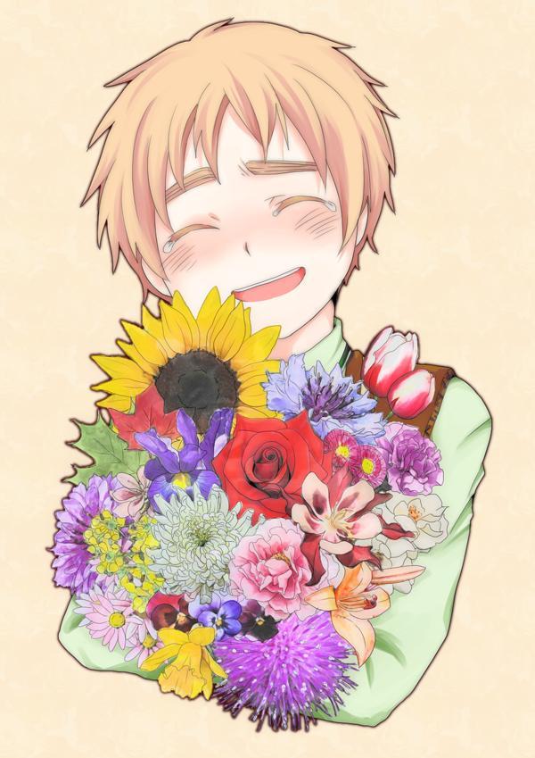 Tags: Anime, Axis Powers: Hetalia, United Kingdom, Daffodil, Chrysanthemum, Tulip, Iris, Pansy, Petunia (Flower), Mobile Wallpaper, Allied Forces