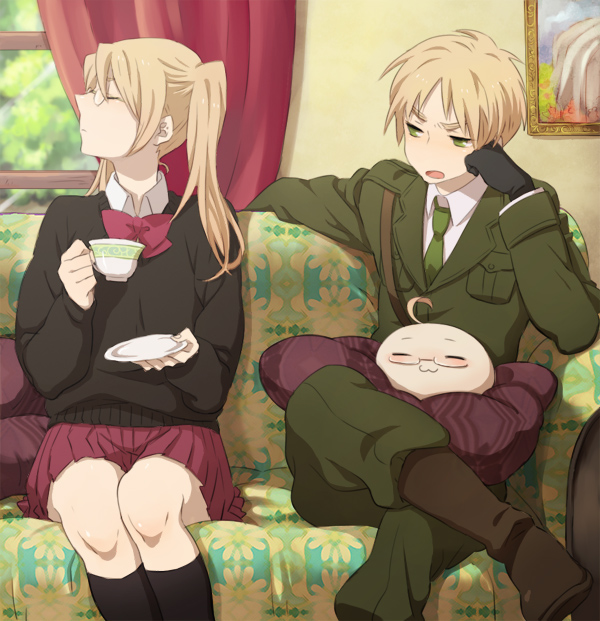 Tags: Anime, Tsu3, Axis Powers: Hetalia, United Kingdom (Female), Mochimerica, United Kingdom, Mochitalia, Nyotalia