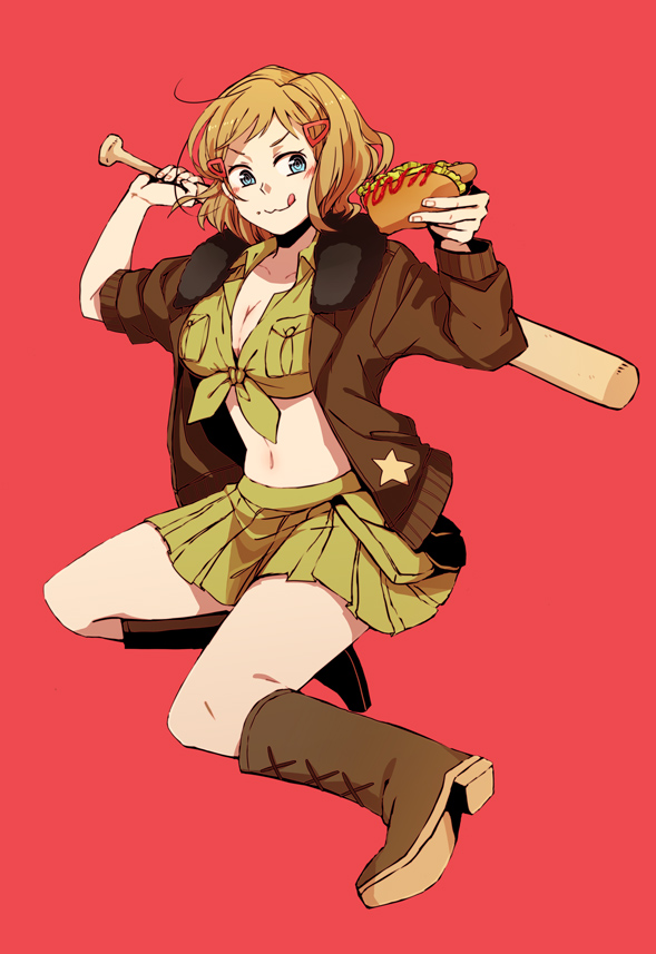 Tags: Anime, Koreno, Axis Powers: Hetalia, United States (Female), Baseball, Hot Dog, Nyotalia, Mobile Wallpaper, Pixiv