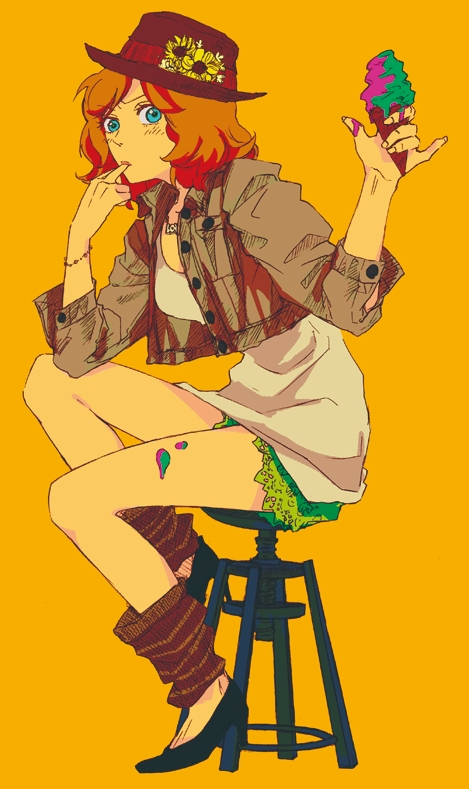 Tags: Anime, Terasa Yukimi, Axis Powers: Hetalia, United States (Female), Brown Jacket, Food On Body, Leg Warmers, Licking Finger Tip, Nyotalia, Pixiv, Mobile Wallpaper, Allied Forces