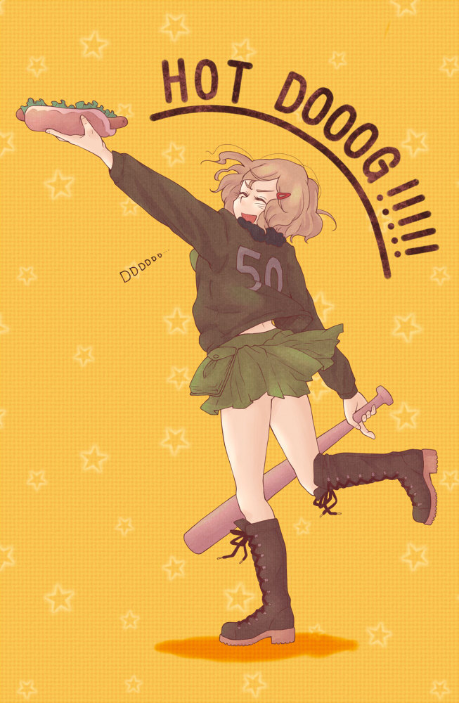 Tags: Anime, Pixiv Id 888926, Axis Powers: Hetalia, United States (Female), Brown Jacket, Bomber Jacket, Hot Dog, Pixiv, Nyotalia, Mobile Wallpaper, Allied Forces