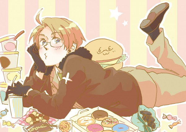 Tags: Anime, Pixiv Id 792397, Axis Powers: Hetalia, United States, Hamburger, On Stomach, Donut