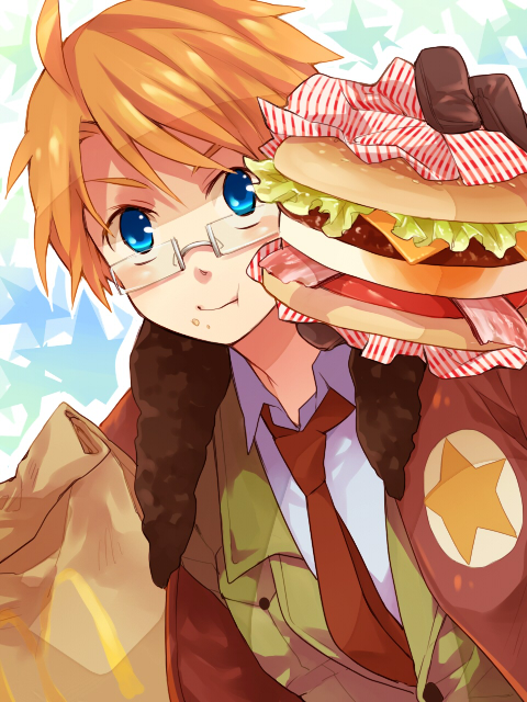 Tags: Anime, Shizu, Axis Powers: Hetalia, United States, Fast Food, Fanart, Pixiv, Allied Forces