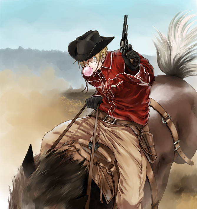 Tags: Anime, Hoshitamago, Axis Powers: Hetalia, United States, Western, Rodeo, Aiming Up, Cowboy, Allied Forces