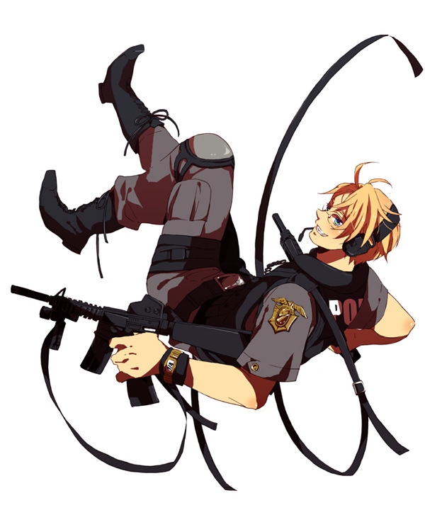 Tags: Anime, Pixiv Id 1826544, Axis Powers: Hetalia, United States, Rifle, Knee Pads, Police Uniform