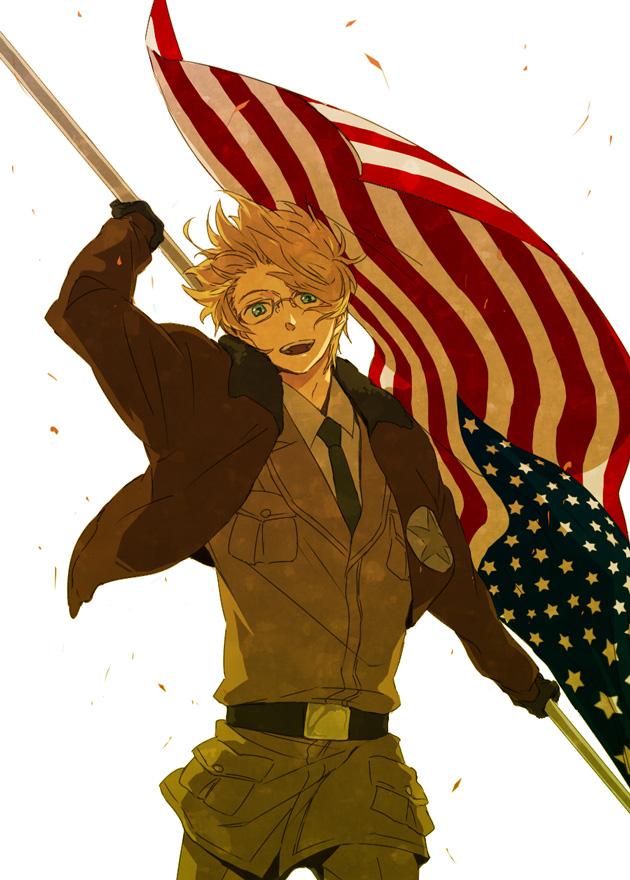 Tags: Anime, Pixiv Id 552656, Axis Powers: Hetalia, United States, Country Flag, Flag, Backlight