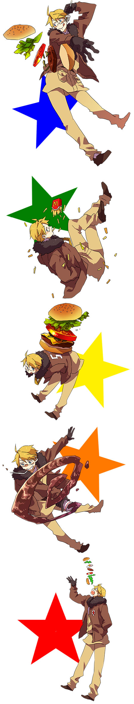 Tags: Anime, Runko, Axis Powers: Hetalia, United States, French Fries, Fanart, Allied Forces