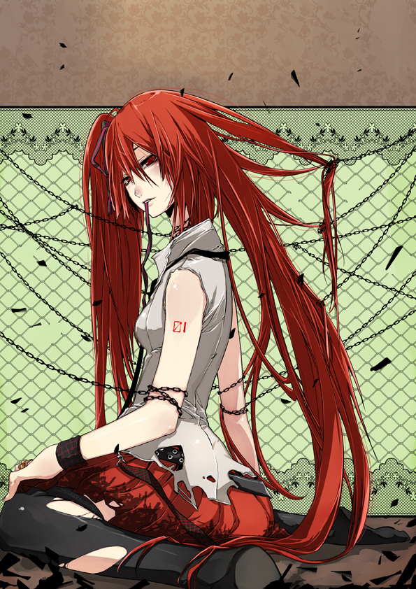 Tags: Anime, Ian Olympia, VOCALOID, Hatsune Miku, Chain Link Fence, Torn Thigh Highs, Shackles, Usotsuki no Parade, Mobile Wallpaper, deviantART, Parade Of Liars