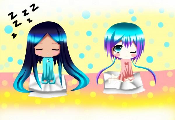 Tags: Anime, Pixiv Id 2924401, VOCALOID, Aoki Lapis, Merli, Sleeping Upright, Pillow