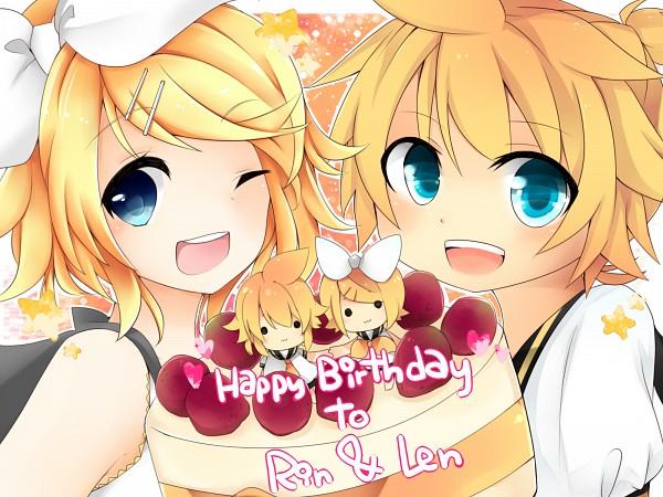 Tags: Anime, Pixiv Id 3732283, VOCALOID, Kagamine Len, Kagamine Rin, Cake, Kagamine Mirrors