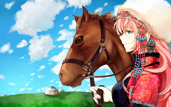 Tags: Anime, Pixiv Id 4458231, VOCALOID, Megurine Luka, Day, Horse