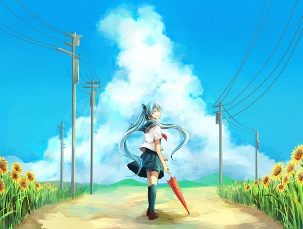 Tags: Anime, Pixiv Id 2086700, VOCALOID, Hatsune Miku, Sunflower, Regenschirm, Yellow Flower