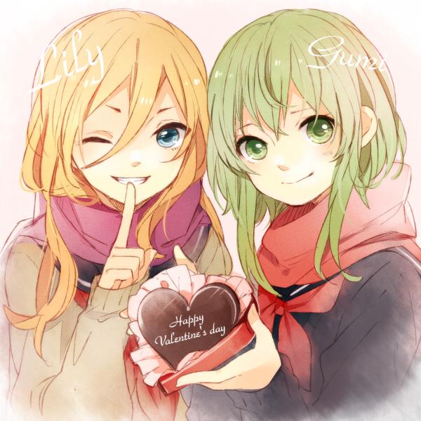 Tags: Anime, Tama Songe, VOCALOID, GUMI, Lily (VOCALOID), Heart Box, Chocolate Heart, Chocolate Box, Fanart, Pixiv