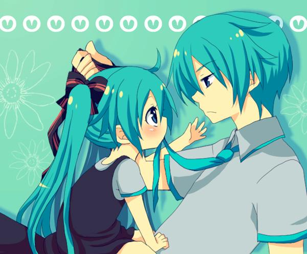 Tags: Anime, Sunnyspot (Mangaka), VOCALOID, Hatsune Miku, Hatsune Mikuo, Little Girl, Grabbing Tie