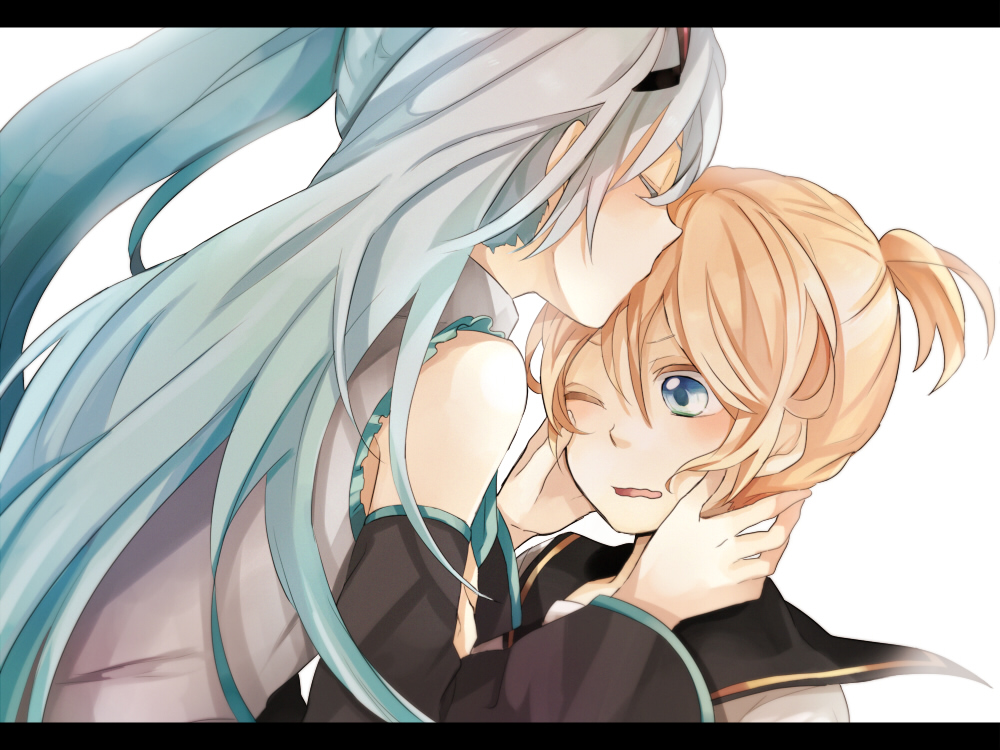 hatsune miku and len kiss wwwimgkidcom the image kid