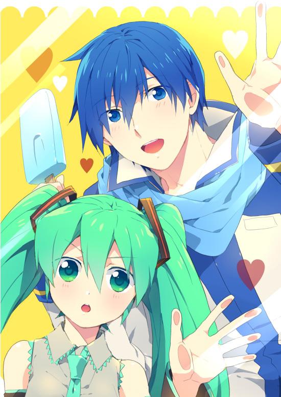 Tags: Anime, Sinaooo, VOCALOID, KAITO, Hatsune Miku, Pixiv, Mobile Wallpaper, Tojikomete Mita, Fanart
