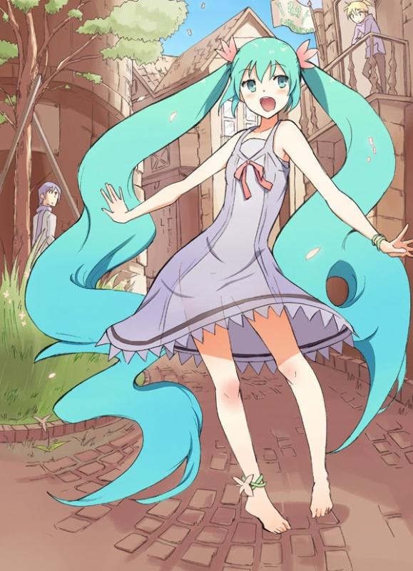 Tags: Anime, VOCALOID, Hatsune Miku, KAITO, Kagamine Len