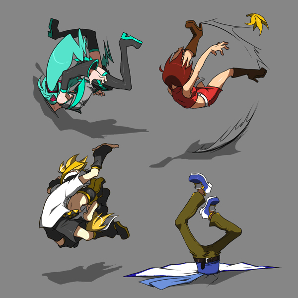 Tags: Anime, Luli, VOCALOID, Hatsune Miku, KAITO, Kagamine Len, Kagamine Rin, MEIKO (VOCALOID), Banana Peel, Fanart, Pixiv