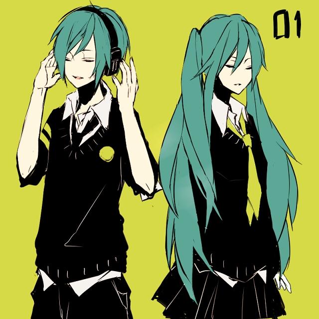 Tags: Anime, Kana (kwbr32), VOCALOID, Hatsune Miku, Hatsune Mikuo, PNG Conversion, Fanart, Pixiv