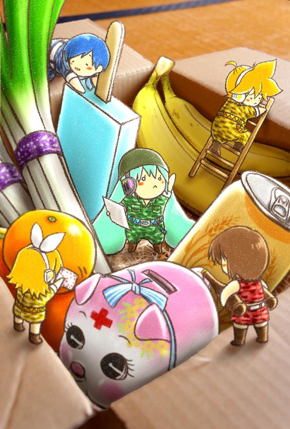 Tags: Anime, Kagura Ryohki, VOCALOID, Hatsune Miku, KAITO, Kagamine Len, Kagamine Rin, MEIKO (VOCALOID), Canned Drink, Piggy Bank, Fanart, Photograph (Source), Pixiv