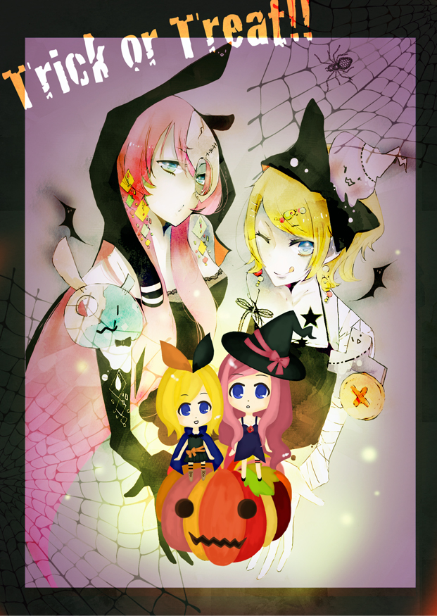 Tags: Anime, Penchop, VOCALOID, Megurine Luka, Kagamine Rin, Spider, Mobile Wallpaper, Pixiv, Fanart