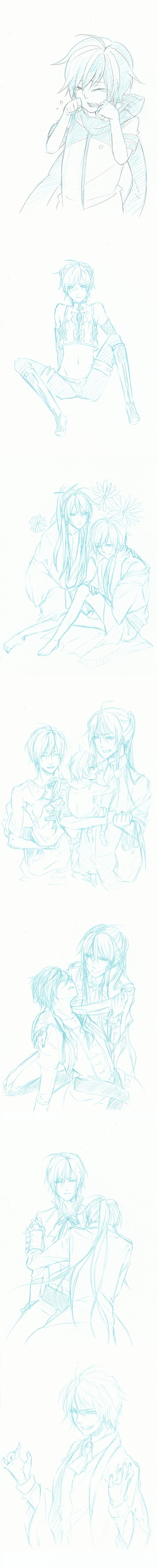 Tags: Anime, Pixiv Id 2552590, Project DIVA 2nd, VOCALOID, KAITO, Kamui Gakupo, Venomania no Ouyake no Kyouki, Fanart, Akutoku no Judgement, Sketch, Project DIVA Electronic Kitty