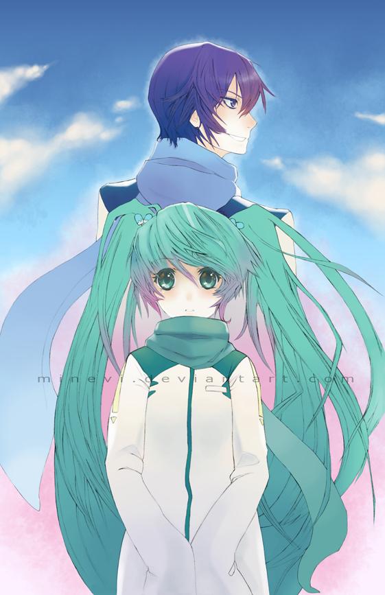 Tags: Anime, Minevi, VOCALOID, NIGAITO, KAITO, Hatsune Miku, Mobile Wallpaper