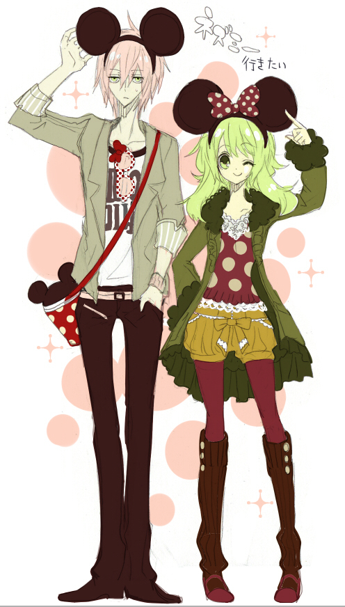 Tags: Anime, Ryuuguu Tsukasa, VOCALOID, GUMI, VY2, Minnie Mouse (Cosplay), Mickey Mouse (Cosplay), Mobile Wallpaper, Pixiv, Fanart