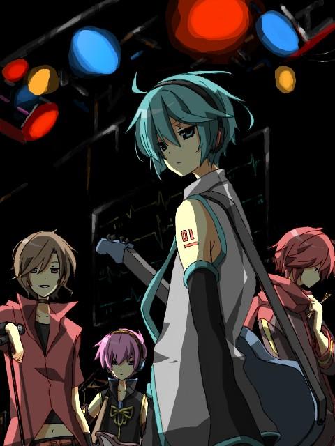 Tags: Anime, VOCALOID, Megurine Luki, Hatsune Mikuo, MEITO, AKAITO, Bass Guitar, PNG Conversion, Artist Request