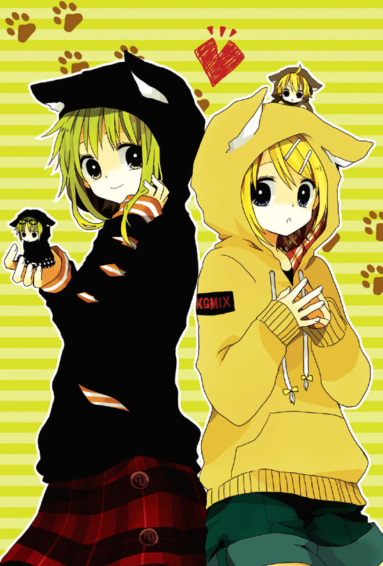 Tags: Anime, An (Pixiv1170947), VOCALOID, Kagamine Len, Kagamine Rin, GUMO, GUMI, Cat Costume, Kagumix, Person On Hand, Person On Head, Mobile Wallpaper, Pixiv