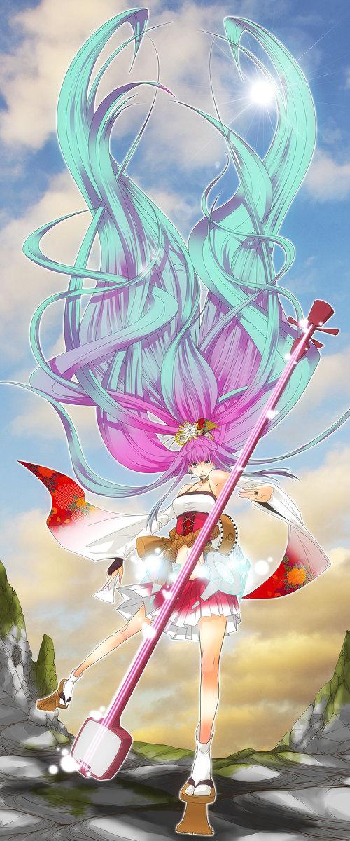Tags: Anime, VOCALOID, VY1, Kiku Kobushi, Rimiko, Instrument Case, Shamisen