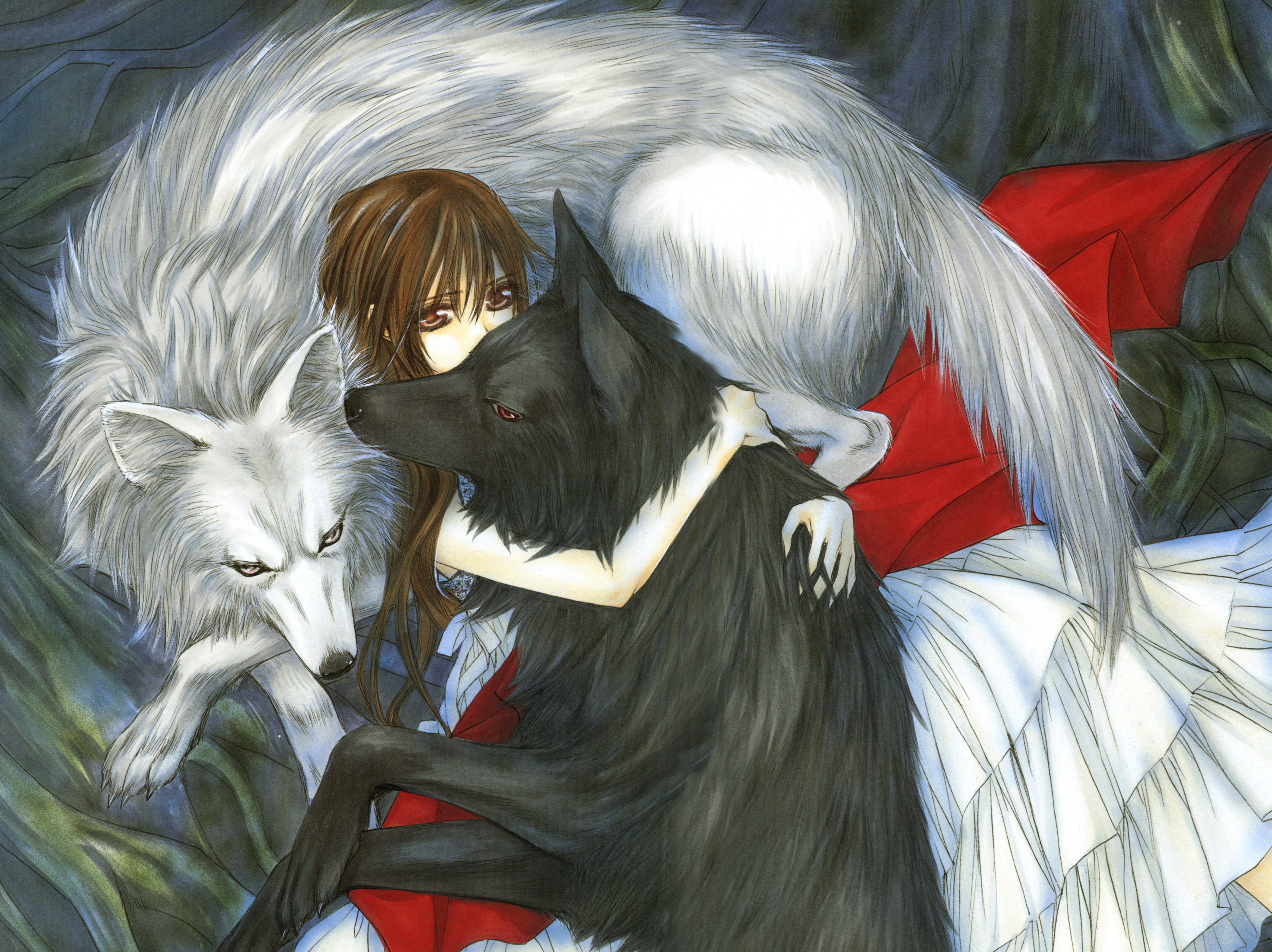 Anime girl hugging wolf