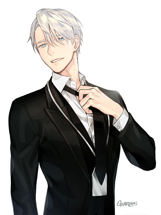 Tags: Anime, Gearous, Yuri!!! On Ice, Victor Nikiforov, Grabbing Tie, Waist Up, Open Jacket