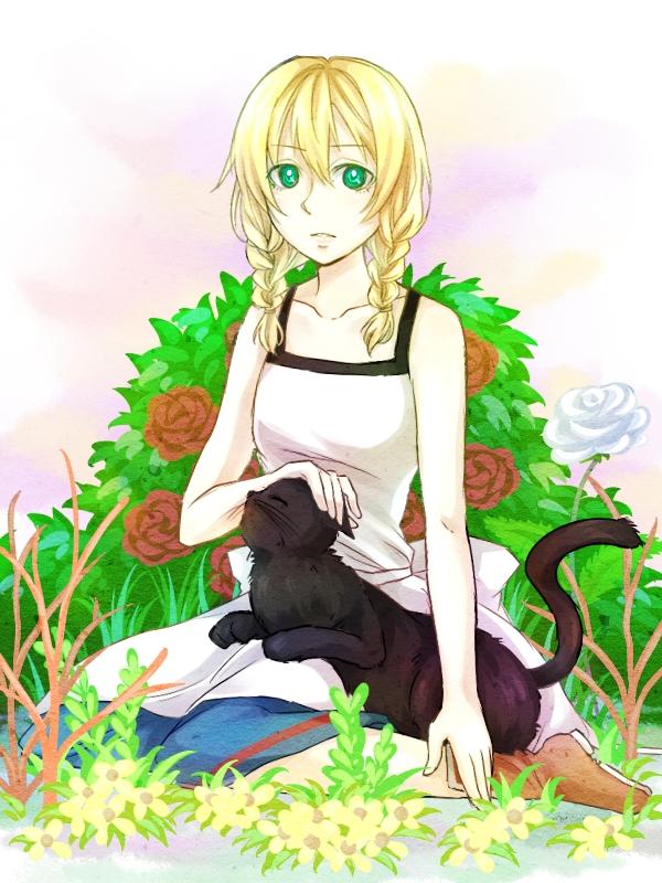 Tags: Anime, Itsuya✿Pama, Majo no Ie, The Black Cat (Majo no Ie), Viola (Majo no Ie), Caressing, Rose Bush, Pixiv, Fanart, Fanart From Pixiv