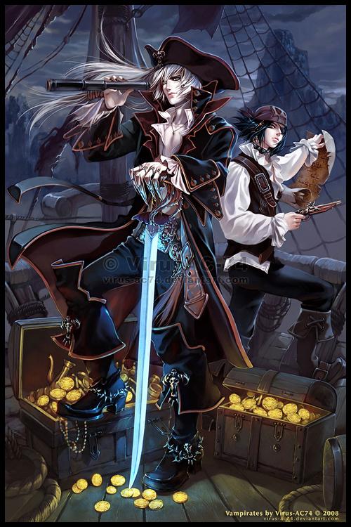 Steampunk pirate male anime
