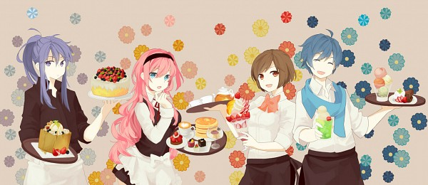Tags: Anime, Eke, Vocaloid, Megurine Luka, KAITO, Kamui Gakupo, MEIKO (Vocaloid)