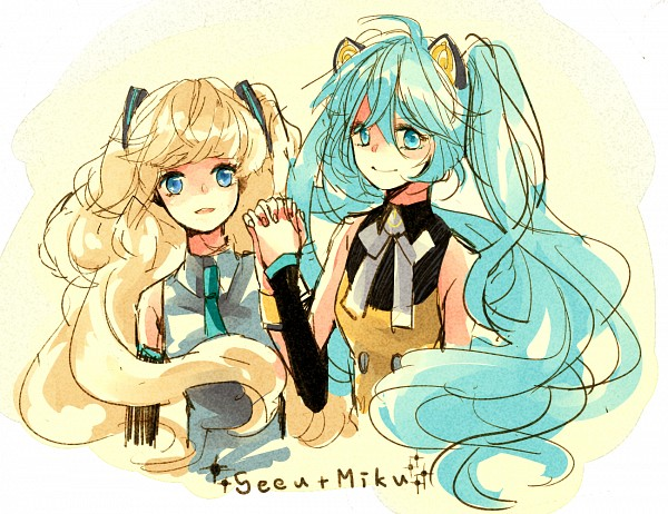 Tags: Anime, Hatsune Miku, Vocaloid, Sketch, SeeU