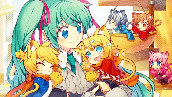 Tags: Anime, Hatsune Miku, Vocaloid, Wallpaper, Kagamine Rin