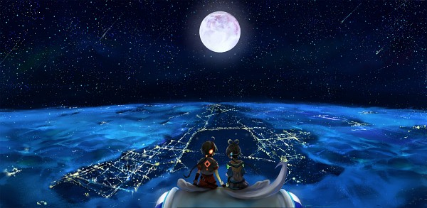 Tags: Anime, City, Glow, Vocaloid, Aerial View, Hair Rings, Full Moon