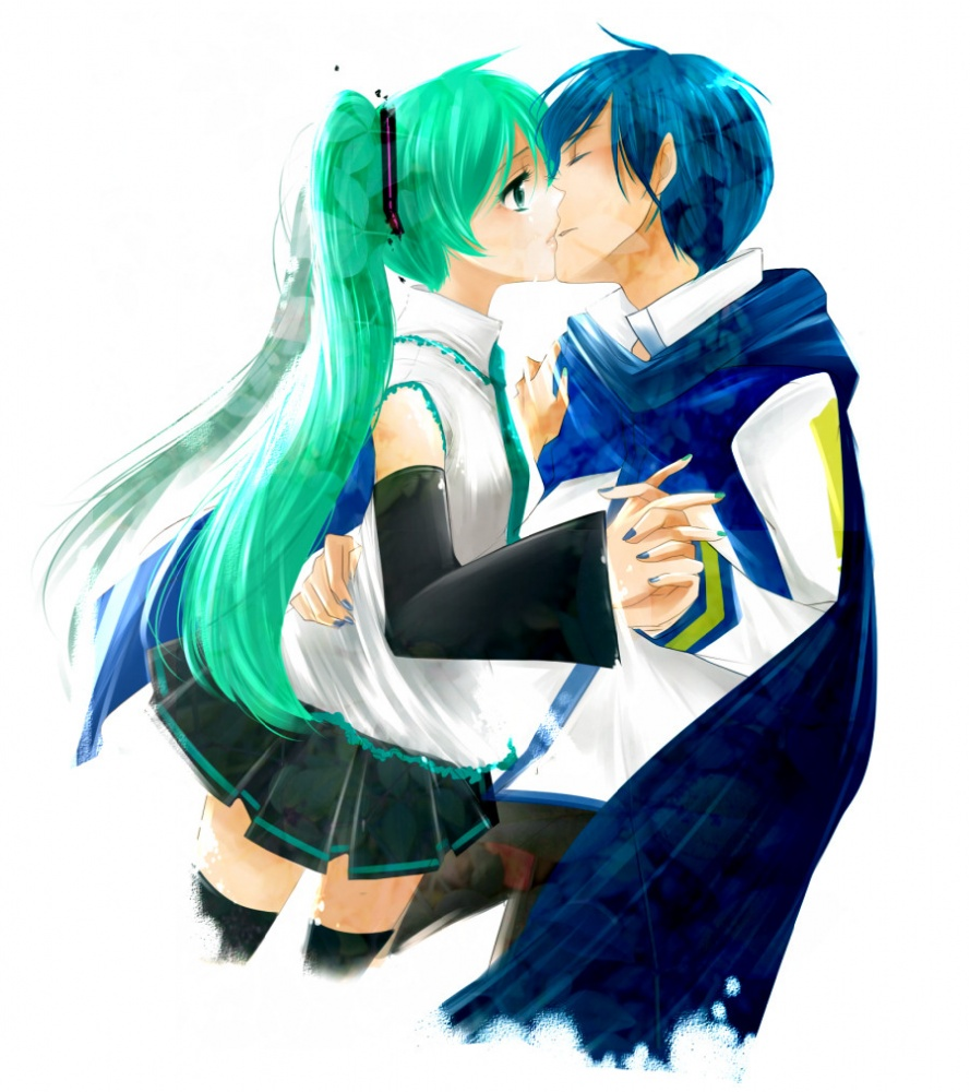 Tags  Anime  Vocaloid  Hatsune Miku  KAITO  Kiss On The LipsVocaloid Kaito And Miku Kiss