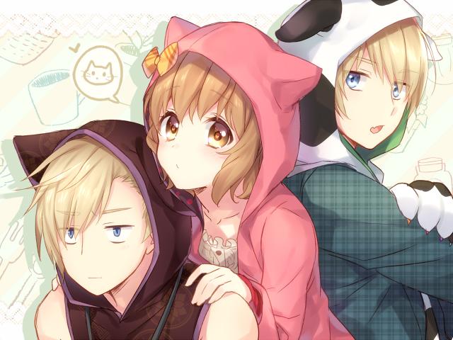 Tags: Anime, Yuuna Minato, Walpurgis no Uta ~Walpurgisgedichte~, Ogami Toramaru, Ogami Ryumaru, Izumi Shio, Wolf Hood, Dog Hood, PNG Conversion, Fanart