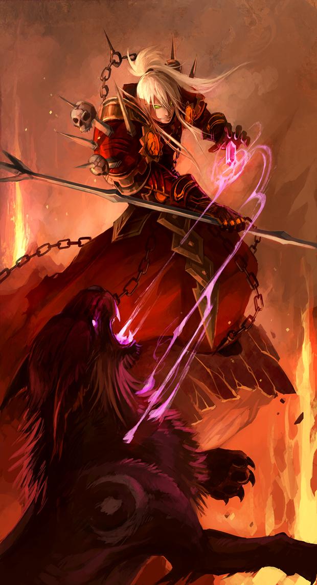 Tags: Anime, Sandara, Warcraft, Warlock (Warcraft), Blood Elf, Night Elf, Druid, Mobile Wallpaper, deviantART, Fanart