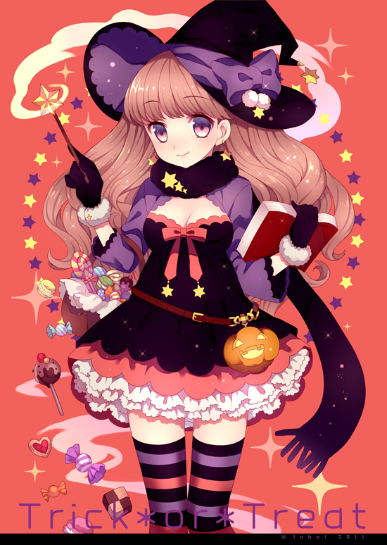 Tags: Anime, Wasabi (W.label), Observing, Text: Trick Or Treat, Pixiv, Mobile Wallpaper, Original
