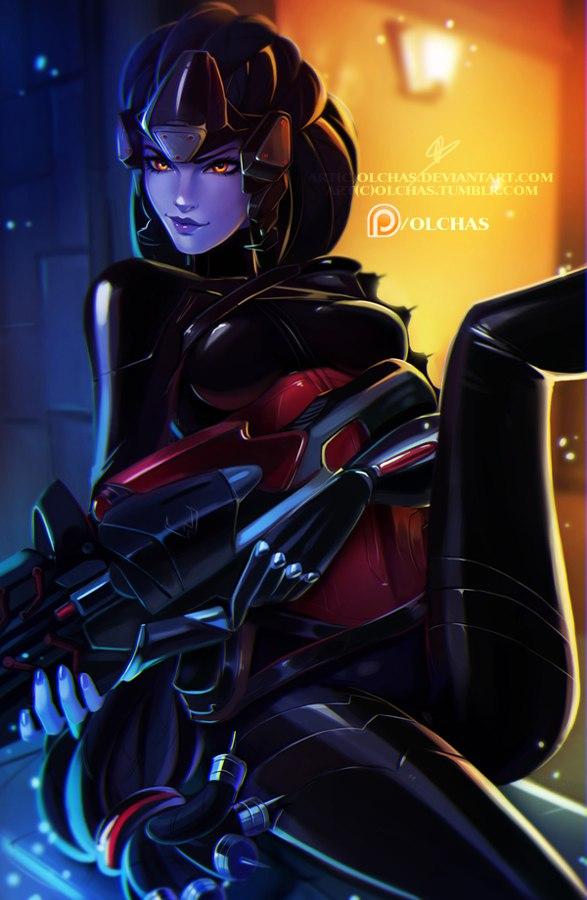 Tags: Anime, OlchaS, Overwatch, Widowmaker, Purple Skin, Western Art Style, Purple Lips, Fanart