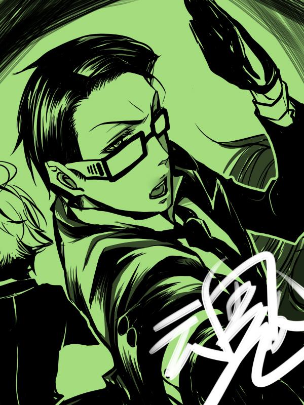 Tags: Anime, Nanami:C, Kuroshitsuji, Grell Sutcliff, Ronald Knox, William T. Spears, Pixiv, Fanart
