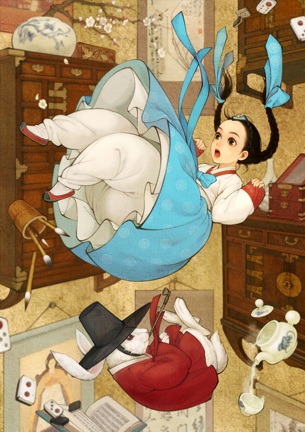Tags: Anime, Wooh Nayoung, Alice in Wonderland, Alice (Alice in Wonderland), White Rabbit, Domino, Korean Clothes, Pouring, Hanbok, Kakemono, Mobile Wallpaper, Pixiv