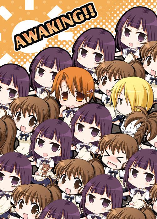 Tags: Anime, Pixiv Id 7074, Working!!, Yamada Aoi, Taneshima Popura, Inami Mahiru, Satou Jun, Flower Clip