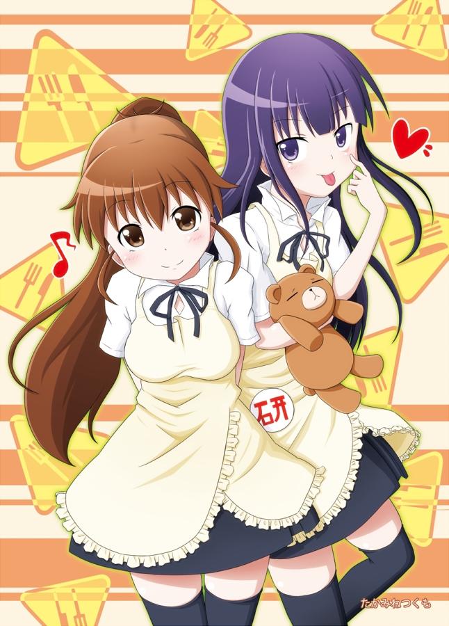 Tags: Anime, Takamine (Smdx), Working!!, Taneshima Popura, Yamada Aoi, Fanart From Pixiv, Pixiv, PNG Conversion, Fanart